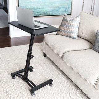 Seville Classics AIRLIFT Black Mobile Laptop Computer Desk Cart With Adjustable Height Range 20.5 in to 33 in