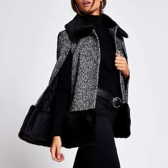River Island Womens Black printed faux fur trim cape