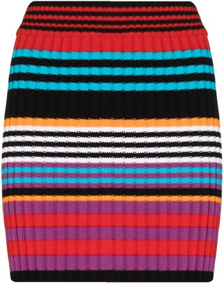 AGR Stripe Knit Fitted Mini Skirt