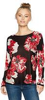 Ruby Rd. Women's Petite Scoop-Neck Large Bloom Jacquard Sweater Pullover