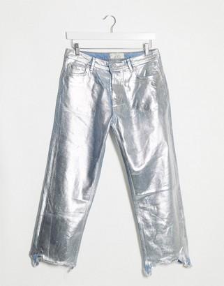 Free People Maggie foil jean in silver