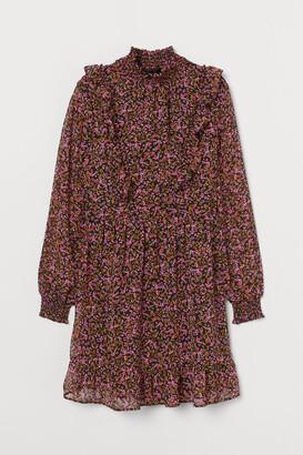 H&M Flounced Chiffon Dress