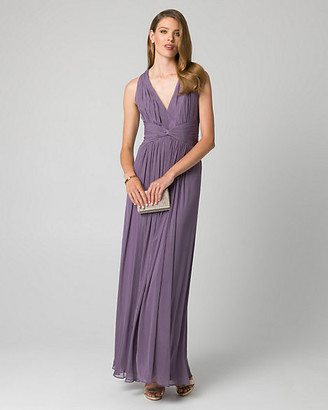 Le Château Mesh V-Neck Pleated Gown