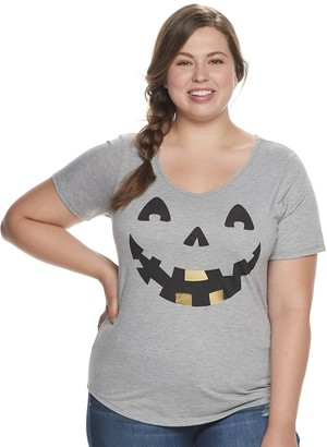 Unbranded Juniors' Plus Size Jack 'o' Lantern Graphic Tee