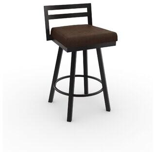 "Brayden Studio Penton Leather Bar & Counter Stool Brayden Studio Color: Dark Brown, Upholstery: Light Gray Faux Leather, Seat Height: Counter Stool (26.75"" Seat Heig"