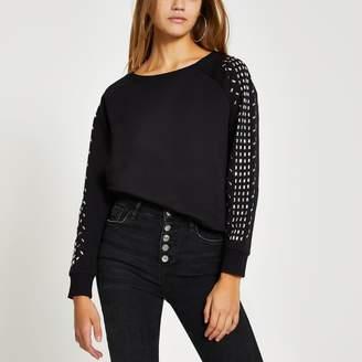 River Island Womens Black long embellished sleeve sweatshirt