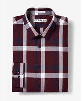 Express Slim Fit Plaid Long Sleeve Cotton Dress Shirt