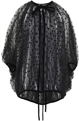 Oscar de la Renta Oversized Bow-detailed Gathered Flocked Tulle Blouse