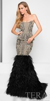 Terani Couture Rhinestone Encrusted Sweetheart Feather Mermaid Evening Dress