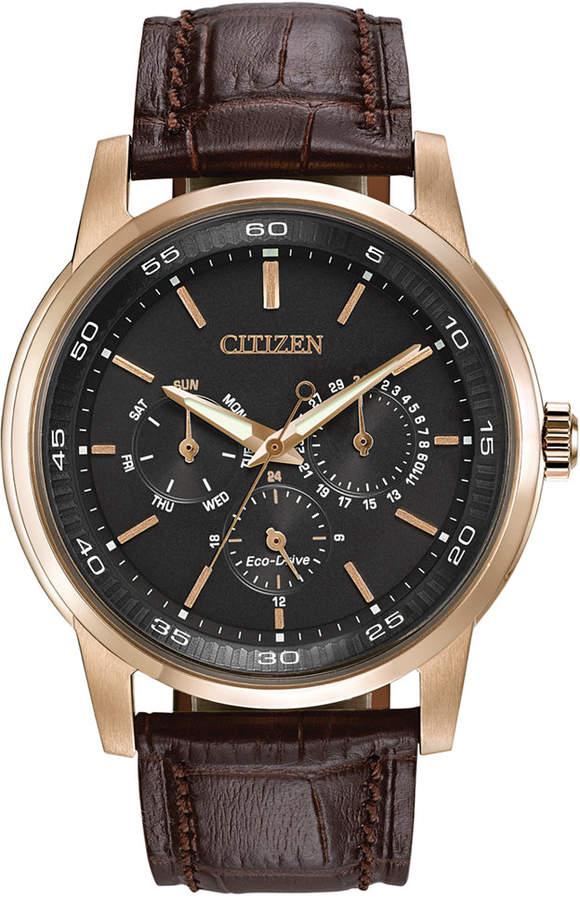 Citizen Men's Dress Eco-Drive Black-Brown Leather Strap Watch 44mm BU2013-08E
