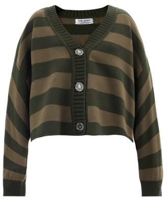 ATTICO V-neck Striped Merino-wool Cardigan - Green Stripe