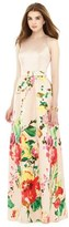 Alfred Sung Watercolor Floral Print Sleeveless Sateen A-Line Gown