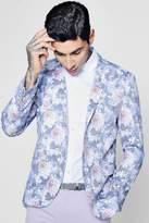 boohoo Floral Print Skinny Fit Blazer