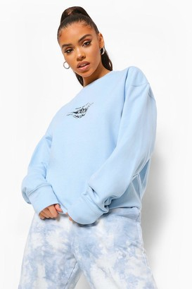 boohoo Cherub Printed Oversized Overdyed Sweatshirt