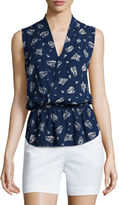 Liz Claiborne Sleeveless Wrapped Peplum Top - Tall