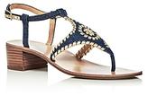 Jack Rogers Elise Denim T-Strap Block Heel Sandals