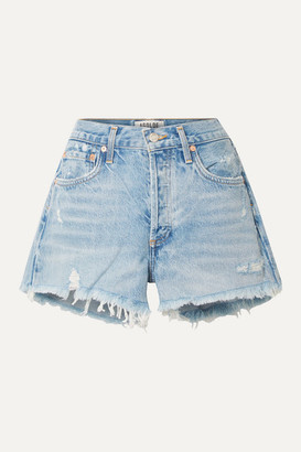 A Gold E Parker Distressed Denim Shorts - Light denim