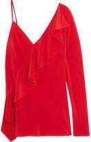 Diane von Furstenberg One-shoulder Ruffled Silk Crepe De Chine Blouse - Red