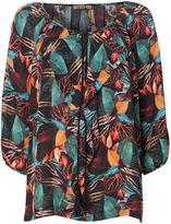 Biba Printed frill front tassel blouse