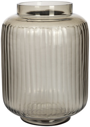 Luxe - Striped Glass Vase - Smoke Grey