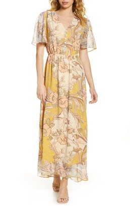 Fraiche by J Yura Floral Print Chiffon Maxi Dress