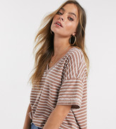 Asos DESIGN Petite oversized v neck t-shirt with in burnout stripe