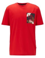 HUGO BOSS - Regular Fit T Shirt In Cotton With Monogram Print - Red