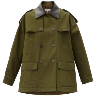 Loewe Leather-trimmed Cotton-twill Jacket - Khaki