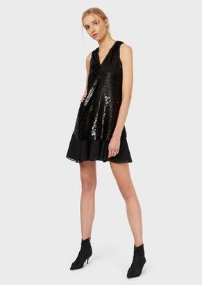 Emporio Armani Sequin Dress With Chiffon Insert