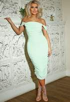 Pink Boutique Willow Mint Green Strapless Ruched Midi Dress