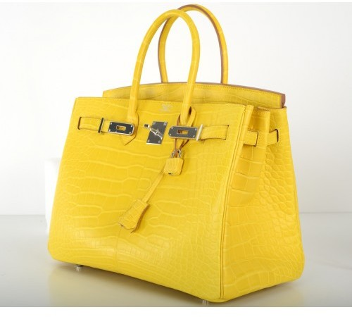 Hermes pristine (PR Yellow Mimosa Matte Croc Alligator 35cm Birkin Bag with Palladium Hardware