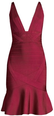 Herve Leger Basics Flounce Hem Bandage Cocktail Dress
