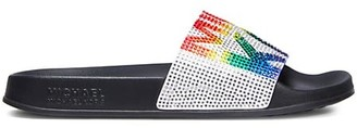MICHAEL Michael Kors Gilmore Rainbow Crystal-Embellished Suede Slides