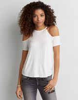 American Eagle Outfitters AE Hi-Neck Cold Shoulder T-Shirt