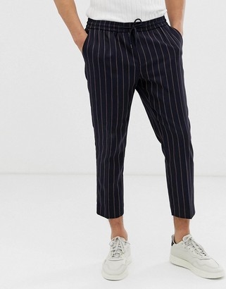 New Look pinstripe trousers in navy and red