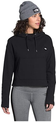 The North Face Logo Crop French Terry Pullover Hoodie (TNF Black) Women's Clothing