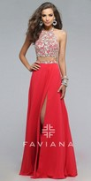 Faviana Two Piece Floral Applique Prom Dress