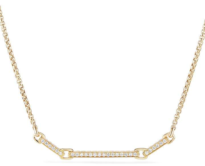 David Yurman Petite Pavé Station Necklace with Diamonds in 18K Gold