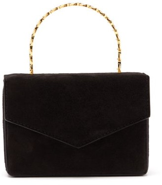 Amina Muaddi Pernille Crystal-handle Mini Suede Box Bag - Black