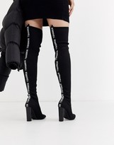 Asos Design DESIGN Kudos bombshell knitted thigh high boots in black
