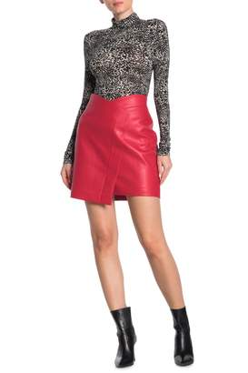BCBGMAXAZRIA Faux Leather Wrap Mini Skirt