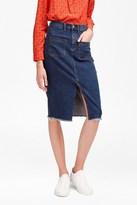 Poppy Denim Frayed Pencil Skirt