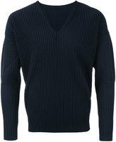 Homme Plissé Issey Miyake - V-neck ribbed longsleeved T-shirt - men - polyester - S