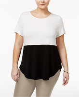 Alfani Plus Size Colorblocked Top, Only at Macy's