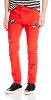 Southpole Men's Long Twill Pants with Printed Backing and Patches In Carrot Fit