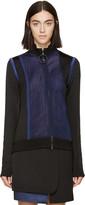 Paco Rabanne Black and Navy Mesh Zip-up Sweater