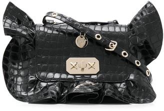 Red(V) Crocodile-Effect Ruffle Shoulder Bag