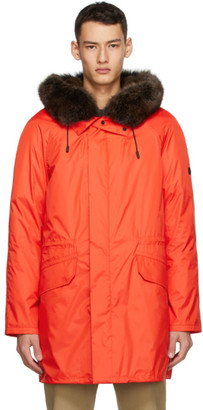 Yves Salomon Army Red Down and Fur Technical Coat