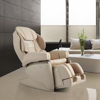 Synca Wellness 4D Ultra Premium Reclining Heated Full Body Massage Chair with Ottoman Fabric: Beige Faux Leather