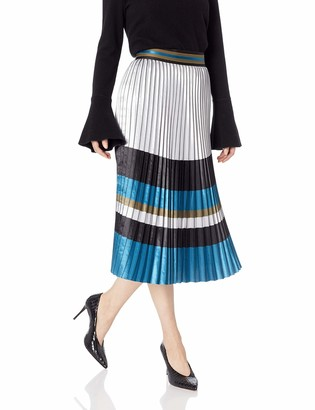 Elie Tahari Women's Striped Pleated Polyester TAMSEN Skirt
